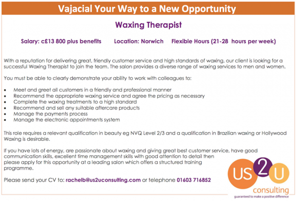Vacancy: New Opportunity for a Waxing Therapist!