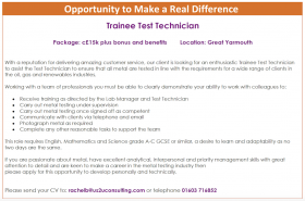 Trainee Test Technician: An Opportunity to Make a Real Difference